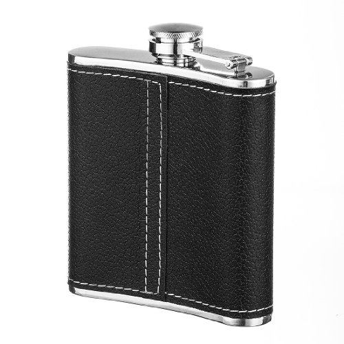 Green Ace ® 6oz Black Wrap Butterfly Flask Gift Set in Gift Box