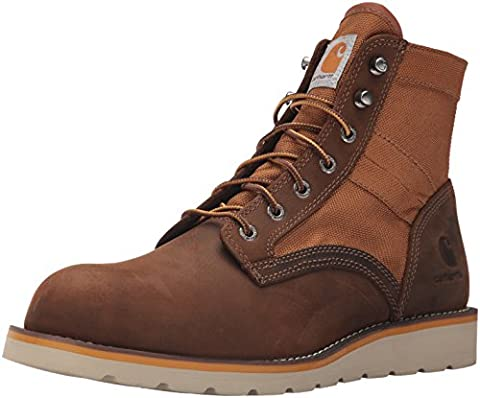 Carhartt Men's 6-Inch Brown/Tan Wedge Boot - Fabric Top Soft Toe CMX6075,Brown Leather Brown Duck ,11 M - Wolverine Wedge Boot