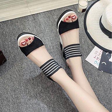 RUGAI-UE Moda de Verano Mujer sandalias casuales zapatos de tacones PU Confort caminar al aire libre,Almendros,US5.5 / UE36 / UK3.5 / CN35 Black