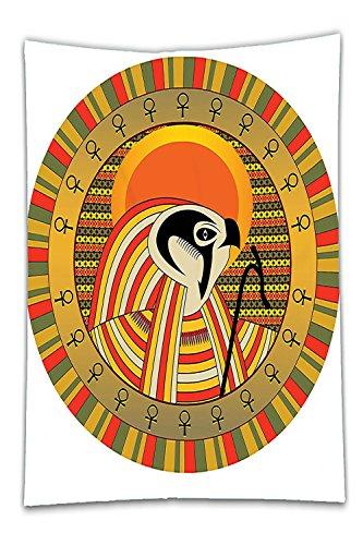 Beshowereb Fleece Throw Blanket Sun Egyptian Decor Illustration of Ancient Egyptian God Sun Ra in Colored Sun Design Print Bedroom Living Room Dorm White Gold Orange Green.jpg