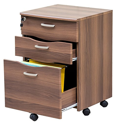 Merax WF009323  Mobile 3-drawered File Cabinet Document Storage With Locking Drawer, Brown by Merax
