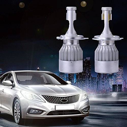 on sale XCSOURCE 2pcs Ampoule Lampe Xénon HID Halogène H4 Phare Voiture LED 10000Lm 55W Ventilateur de Refroidissement 6000K Blanc LD973