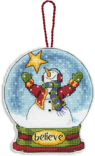 Dimensions Crafts Counted Cross Stitch Ornament, Believe Snow Globe