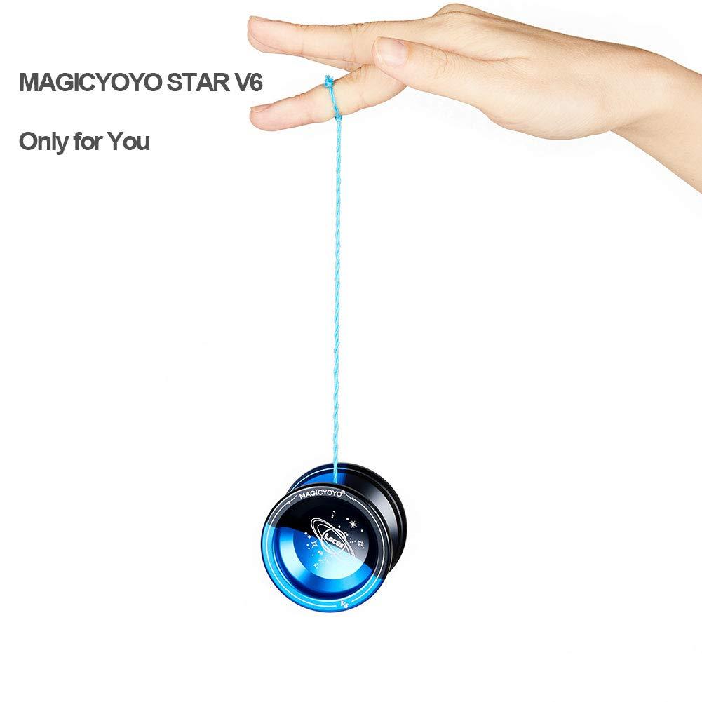 Guanto Nero e Blu + Borsa Yoyo MAGICYOYO YOSTAR Metallo Yoyo per Bambini V6 Star Responsive Yoyo Regalo di Natale Giocattolo Regalo di Compleanno 5 Corde