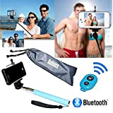 [Selfie Stick] with Bluetooth Remote for [iPhone 6] iPhone 6 Plus, 5S, 5C, 5, 4s, 4 Selfy Pole Pod Self Portrait Monopod for iPhone, Android, iPod, Arm Extender Rod comes with Cell Phone Tripod Adapter Mount, Also for Samsung Galaxy S6 S5 S4 S3 S2 Note 2 - Davoice® (Blue)