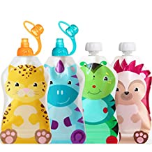 ChooMee Snackn Reusable Food Pouch - 4 CT and Sipn Soft Top - 2 CT   5 oz.   Soft Pouch + Zero Leak Zipper   Enhance their Feeding Experience with Vibrant Colors and Fun Animal Characters