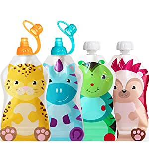 ChooMee Reusable Baby Food Pouch + 2 Sipn Valve Tops | Secure Double Zipper | 4 CT, 5 oz