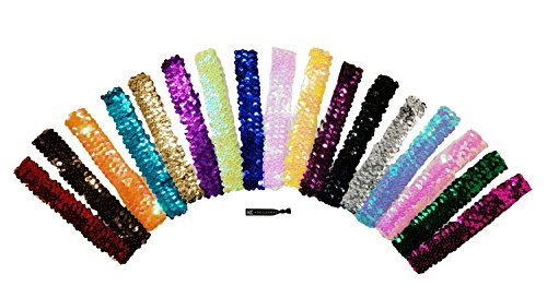 Kenz Laurenz 12 Sequin Headbands Grab Bag Assorted Pack Girls Headbands Sparkly Hair Head Bands (Solids)