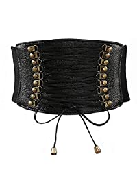 Aiklin Women's PU Leather Belt Corset Elastic Belt Corsets for Waist (Black)