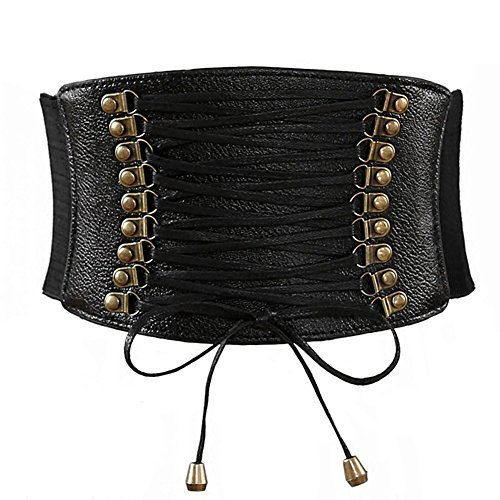 Aiklin Belt Faux Corset Leather Elastic Nior Woman Retro wEHqrE