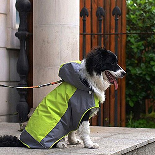 Bolbove Big Dog Hooded Raincoat Slicker Rain Poncho Waterproof Jacket for Medium to Large Dogs (8, Green) -
