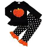 So Sydney Girls Halloween Pumpkin, Candy Cat - 2 Piece Ruffle Pants Outfit (L (5), Black Polka Pumpkin)