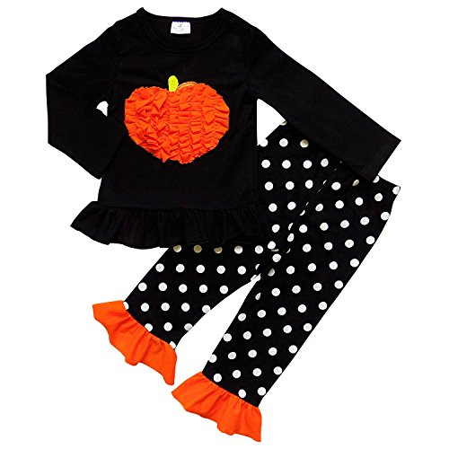 So Sydney Girls Halloween Pumpkin, Candy, or Cat - 2 Piece Ruffle Pants Outfit (XL (6), Black Polka Pumpkin) (Black And Orange Outfit For Halloween)