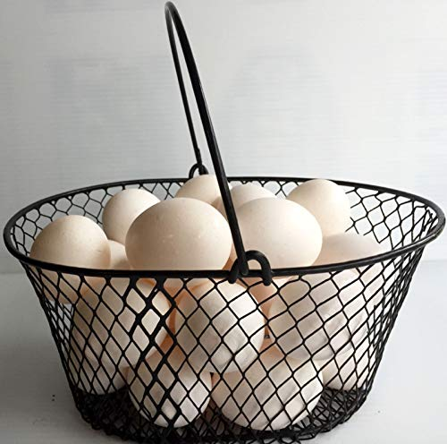 Wire Chicken Egg Basket. for Gathering Eggs .Poultry.Oval.Black