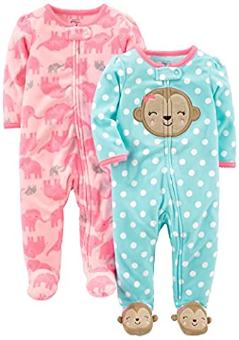 Simple Joys by Carter's Baby Girls' 2-Pack Fleece Footed Sleep and Play, Monkey/Elephant, 0-3 (0 3 Months Baby Girl)