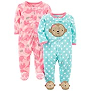 Simple Joys by Carter's Baby Girls' 2-Pack Fleece Footed Sleep and Play, Monkey/Elephant, Newborn