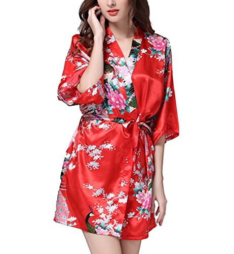 (Admireme Women's Kimono Robes Peacock and Blossoms Satin Silk Nightwear (S, Red))