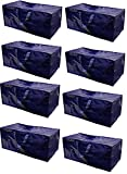 Earthwise Heavy Duty Extra Large Storage Bag Moving Tote Backpack Carrying Handles - Compatible with IKEA Frakta Hand Carts Boxes Bin (8 Pack)