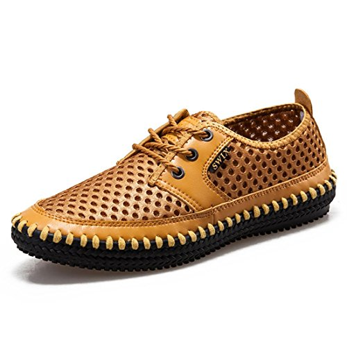 Jeansian Men's Loafers Shoes Yellow 7 US SHA009a