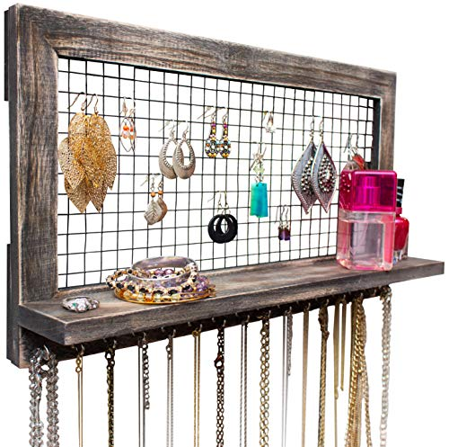 SoCal Buttercup Rustic Jewelry Organizer Wall Mounted - Wooden Wall Mount Display Holder for Earrings, Necklaces, Bracelets, Rings, and Many Other Accessories (Wooden Chicken Crate)