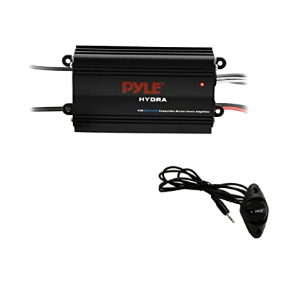Pyle Auto 4-Channel Marine Amplifier - 200 Watt RMS 4 OHM Full Range Stereo with Wireless Bluetooth & Powerful Prime Speaker - High Crossover HD Music Audio Multi Channel System PLMRMB4CB,Black: Electronics