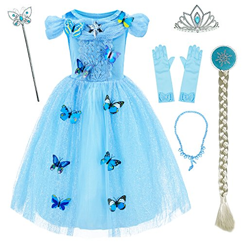 Princess Cinderella Costume Girls Dress Up With Accessories 5-6 Years (Blue 120cm) -
