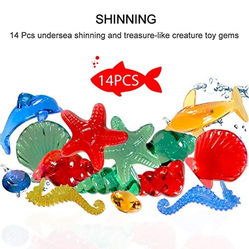 MAIBEST 14 PCS Sinking Dive Gem Pool Toy Set Non-Toxic Underwater Swimming/Diving Gemstones for Kids,Perfect for Bath toy, Baby Showers, Pool Party Fun and Stocking Stuffers