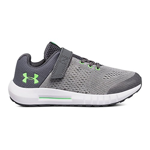Under Armour Boys' Pre School Pursuit Alternate Closure Wide Sneaker, Steel (100)/White, 11K