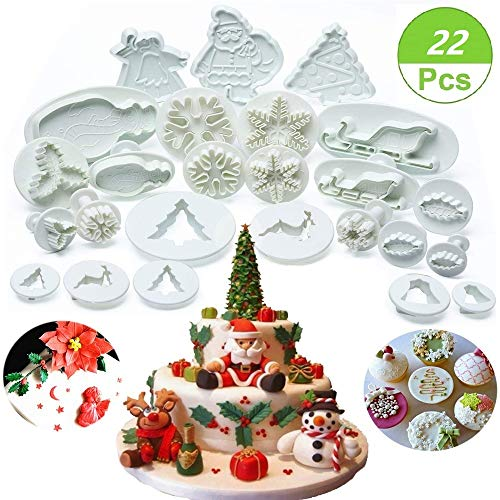 (Set of 22) Christmas Cookie Cutter Set, Fondant Plunger Cutters and Molds for Cupcake Cake Topper Decorating Embossing Tools, Snowflake Christmas Tree/Leaves/Sled/Snowman/Jingling Bell/Deer (Cutter Plunger Christmas Tree)