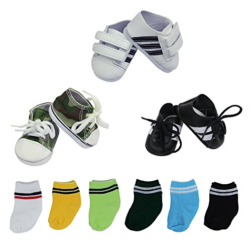 (ZITA ELEMENT Lot 9 Handmade Doll Shoes and Socks for American 18 inch Girl Boy Doll | 3 Shoes & 6 Socks)