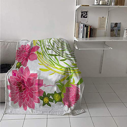 - Maisi Custom Design Cozy Flannel Blanket, Gentle Nature Theme Stylized Dahlia Blossoms Green Leaves and Butterfly, Oversized Travel Throw Cover Blanket 70x60 Inch Pink Green Pale Grey