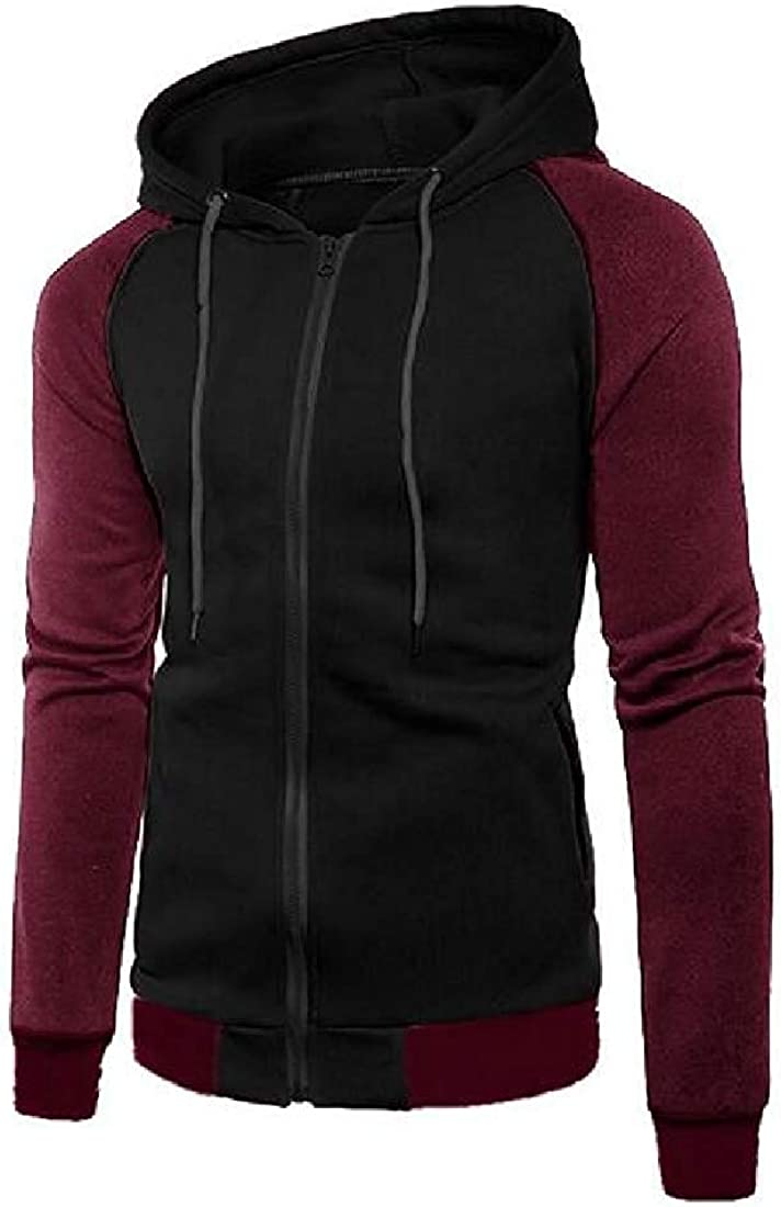 Mens Zipper Long Raglan Sleeve Hoodie Gym Stylish Sweatshirt Jacket,Black,Large