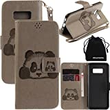 51jmGmQ8QFL. SL160  - S8 Plus Case, Galaxy S8 Plus Case, DRUnKQUEEn 3D Creative Cartoon Panda Cover Soft Leather Case with Hand Strap for Samsung Galaxy S8 Plus - Gray