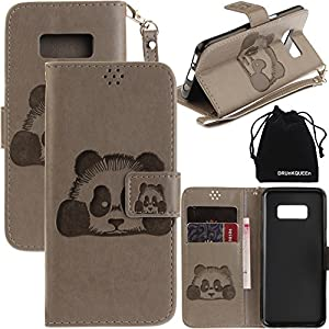 S8 Plus Case, Galaxy S8 Plus Case, DRUnKQUEEn 3D Creative Cartoon Panda Cover Soft Leather Case with Hand Strap for Samsung Galaxy S8 Plus – Gray