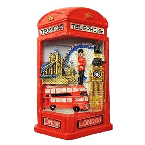 Refrigerator Magnets Resin 3D Funny Phone Booth London UK City Tourist Souvenirs Fridge Stickers Magnetic Fridge Magnet for Whiteboard Home Kitchen Decoration Accessories Arts Crafts Gifts