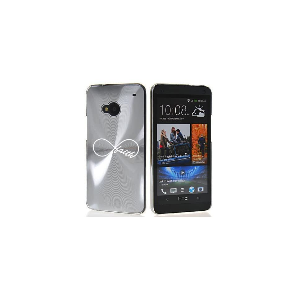 Silver HTC One M7 Sprint AT&T T Mobile Aluminum Plated Hard Back Case Cover 7M209 Infinity Infinite Faith Symbol Cell Phones & Accessories