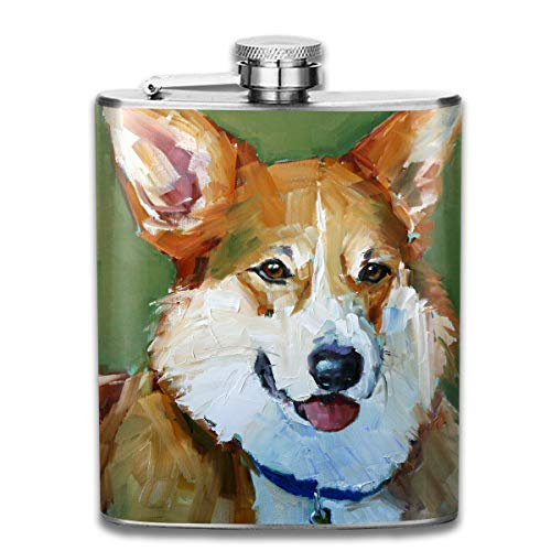 Laki-co Dog Painting in Water Colours Wine Water Hip Flask for Liquor Stainless Steel Bottle Alcohol 7oz