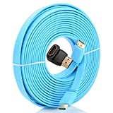 Conwork 33 Feet (10 Meters) Flat HDMI Cable 1.4 Version with Ethernet Supports 4K 3D 1080P & Audio Return Channel [Latest Version] + 90 Degree Right Angle HDMI Connector Adapter