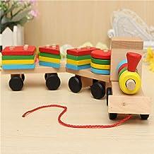 Bazaar Wood Puzzle Train Toys Geometric Building Blocks Education Gift