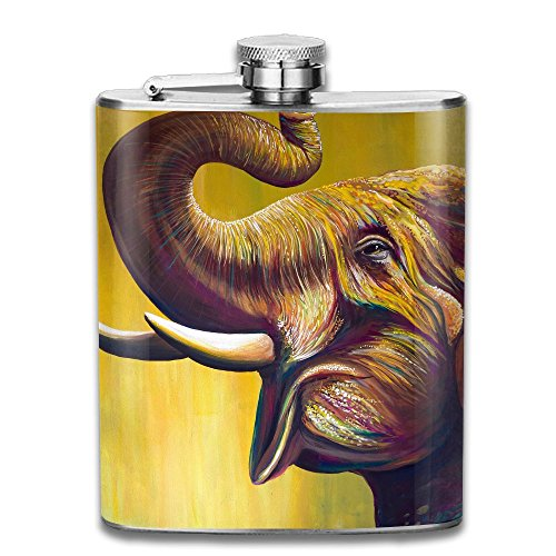 WUGOU Stainless Steel Hip Flask 7 Oz (No Funnel) Colorful Tweet Elephant Full Printed (Cutter Tweet Cookie)