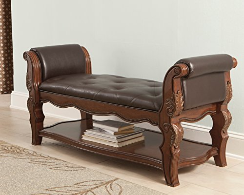 Ashley Furniture B705-09 Upholstered Bench, Brown Cherry Heirloom Vanity