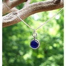 Recycled Vintage Cobalt Noxzema Jar Glass Color Dot Necklace