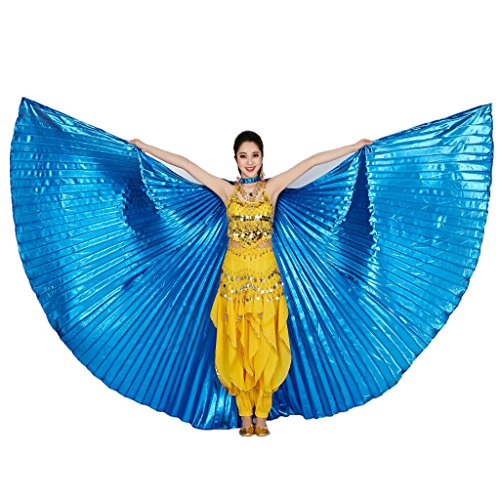 MUNAFIE Belly Dance Isis Wings with Sticks for Adult Belly Dance Costume Angel Wings for Halloween Carnival Performance Navy blue]()