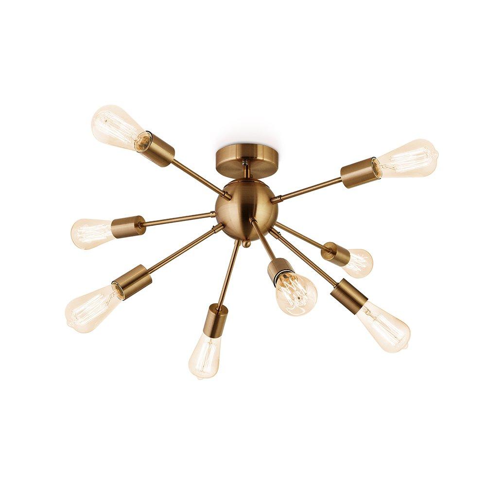 Sputnik Chandelier Antique Brushed Brass with 8-Light Semi Flush Mount Ceiling Light Modern Pendant Lighting Decoration for Dining Room Bed Room Kitchen Bathroom and Hallway by Flyer5