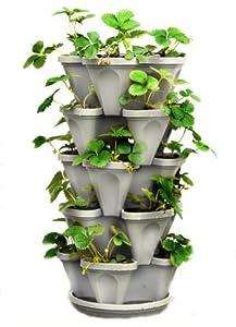 5 Tier Stackable Strawberry, Herb, Flower, and Vegetable Planter - Vertical Garden Indoor / Outdoor