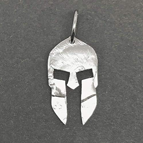 Cut Coin Spartan Helmet Pendant Necklace Jewelry or Key Ring Made From a Half Dollar