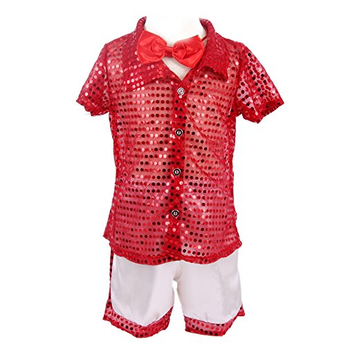 XFentech Boys Kids Sequin Shirt & Shorts Dance Costumes Bowknot Tie Dance Wear Party Outfit, Red, US (Contemporary Dance Costumes For Boys)