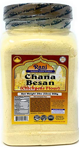 Rani Chana Besan - Chickpeas Flour, Gram (Pet Jar) 2lb (32oz) ~ All Natural | Vegan | Gluten Free Ingredients | NON-GMO | Indian - Garbanzo Bean Flour