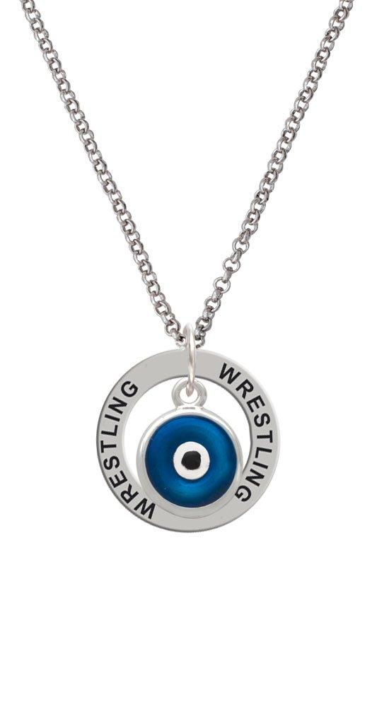 Blue Evil Eye Good Luck - Wrestling Affirmation Ring Necklace