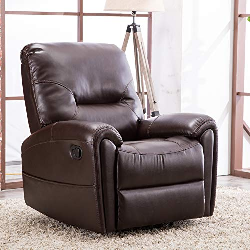 Brown Upholstered Rocker (CANMOV Swivel Rocker Recliner Chair (Brown-008))
